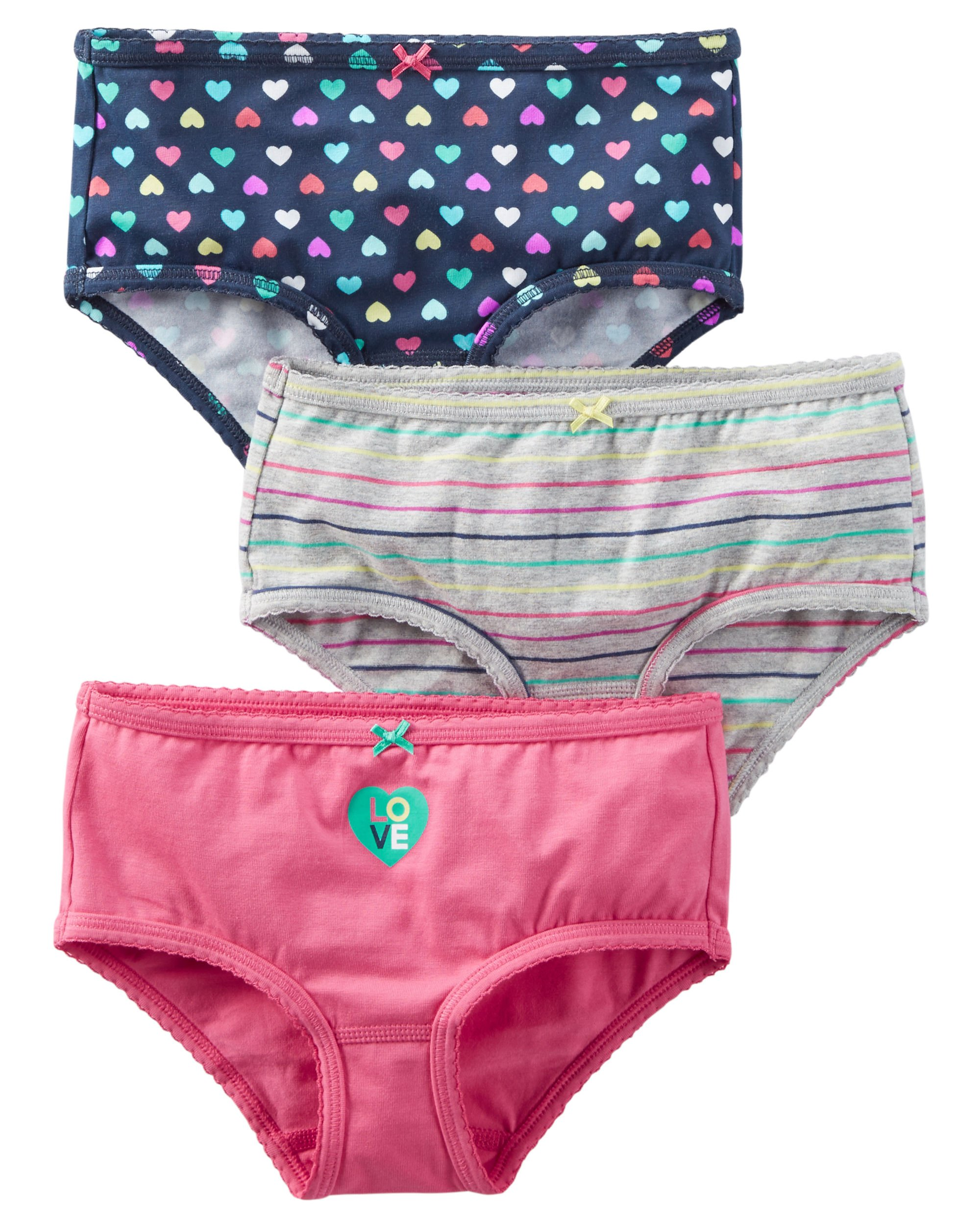 Carters Girls Toddler 3 Pack Girls Underwear (8, Love and Hearts)