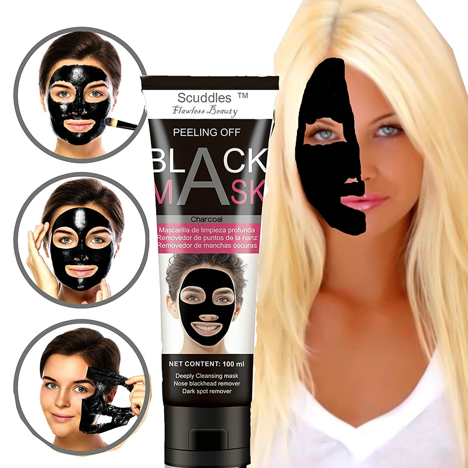 Blackhead Remover Mask, Charcoal Peel Off Mask,Deep Cleaning for Face And  Nose