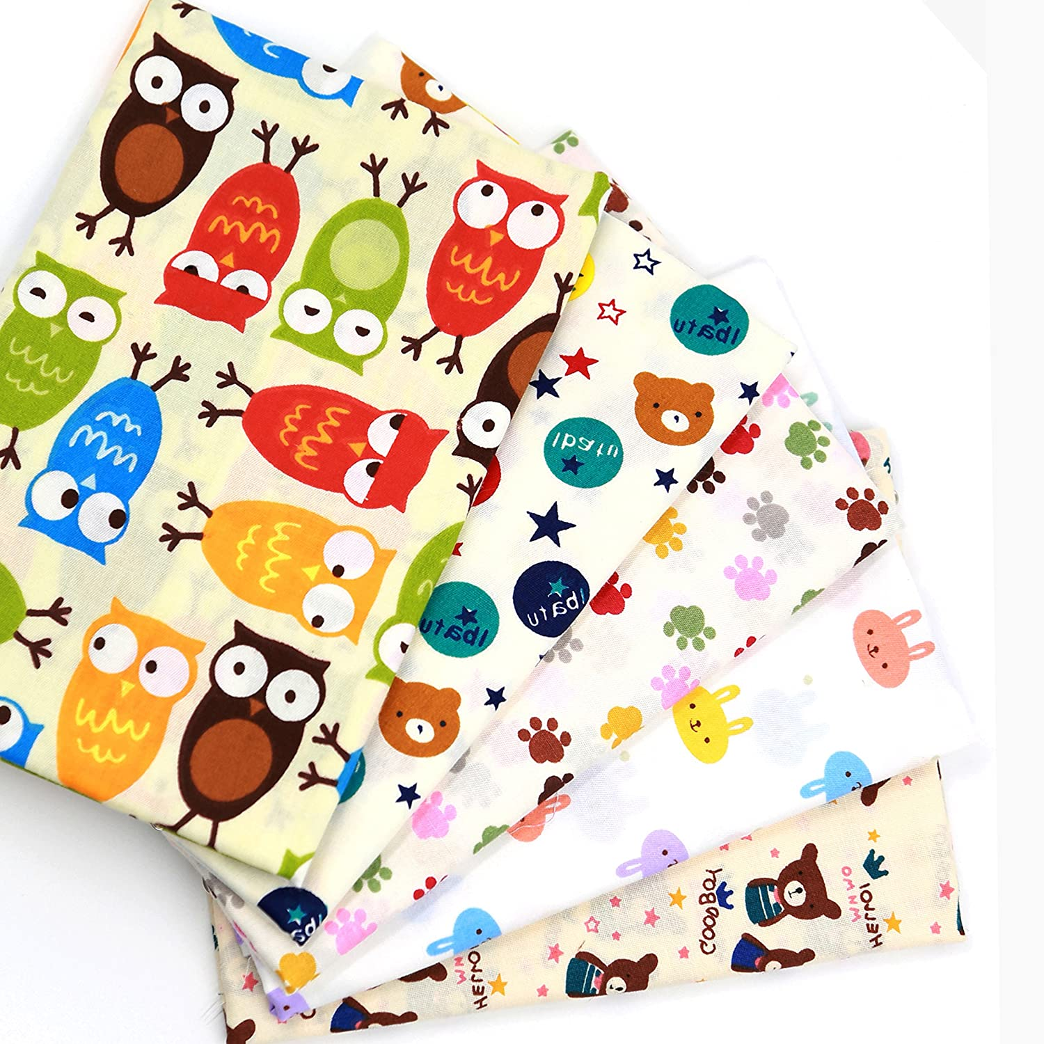 Amazon Com Cartoon Cotton Sewing Fabric For Diy Baby Quilting Bundle Material 5pcs Size 40cm X 50cm