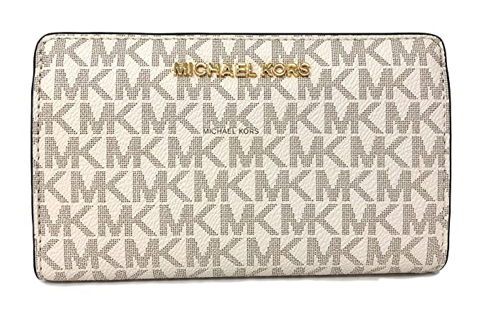 a05e955ddfd6 Michael Kors Jet Set Travel MK Signature Slim Bifold Wallet in Vanilla Acorn