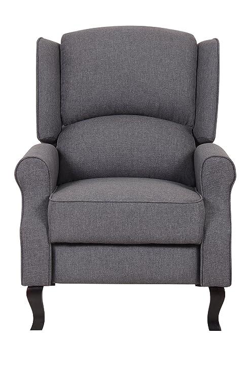 Sensational Us Pride Furniture Contemporary Linen Fabric Accent Recliner Chair Dark Grey Machost Co Dining Chair Design Ideas Machostcouk