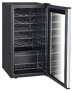 SMETA 3.1 cu ft 28 Bottles Compressor Wine Refrigerator with Stainless Steel Door No Frost Wine Cellar Fridge Freestanding Champagne Cooler,110V,Black