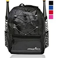 Athletico Youth Baseball Bag - Bat Backpack for Baseball, T-Ball & Softball Equipment & Gear | Holds Bat, Helmet, Glove | Fence Hook