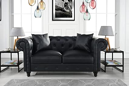 Marvelous Divano Roma Furniture Classic Living Room Bonded Leather Scroll Arm  Chesterfield Loveseat (Black)