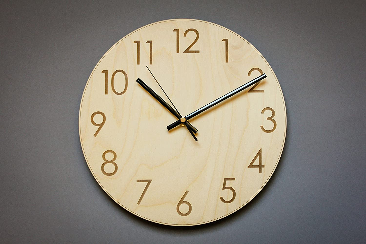Amazoncom Simple Number Wood Wall Clock Silent Clock Rustic