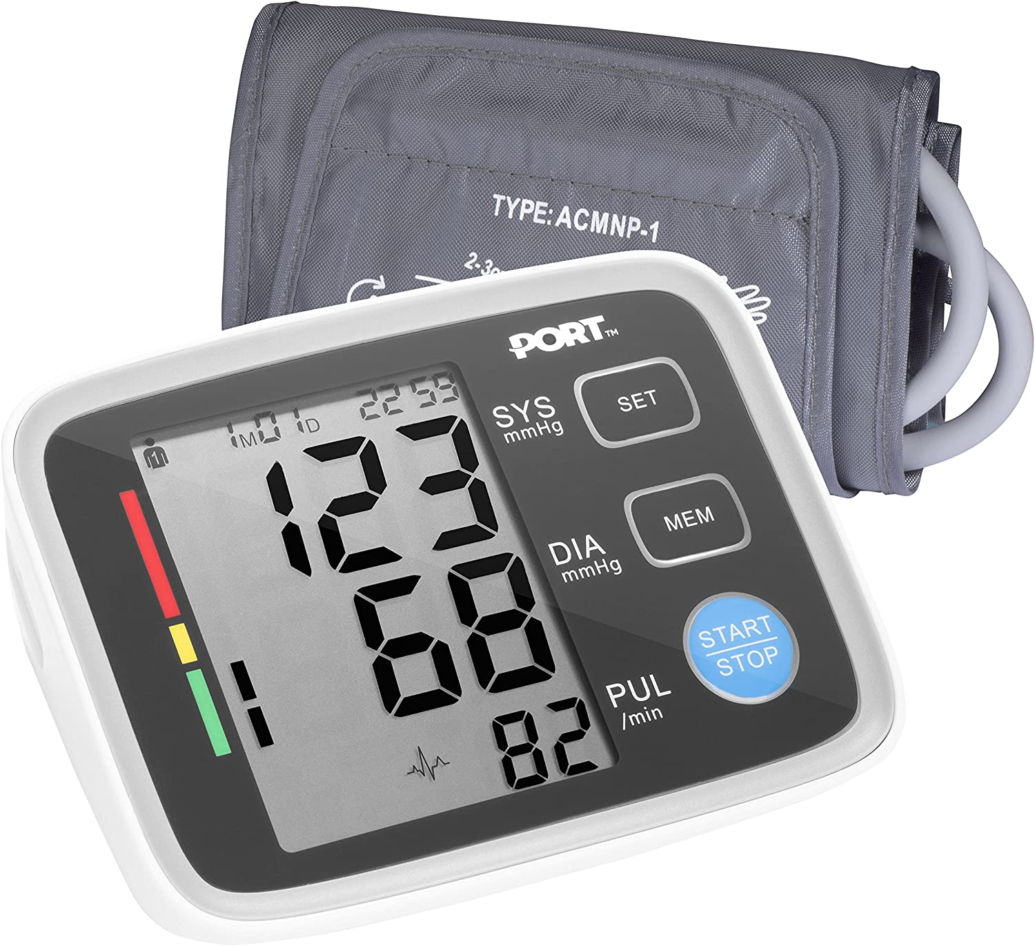 Digital Blood Pressure Monitor By PORT Systolic And Diastolic Blood Pressure Automatic Device, Accurate Readings, Easy To Understand, One Size Fits All Arm Sleeve, Memory Function For 2 Users