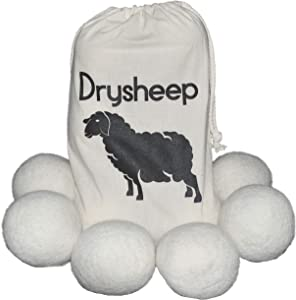 Drysheep Premium Organic Wool Dryer Balls - New 6-Pack of XL New Zealand Wool Dryer Balls for Baby Safe, Anti-Static, Money Saving Laundry Drying Solutions