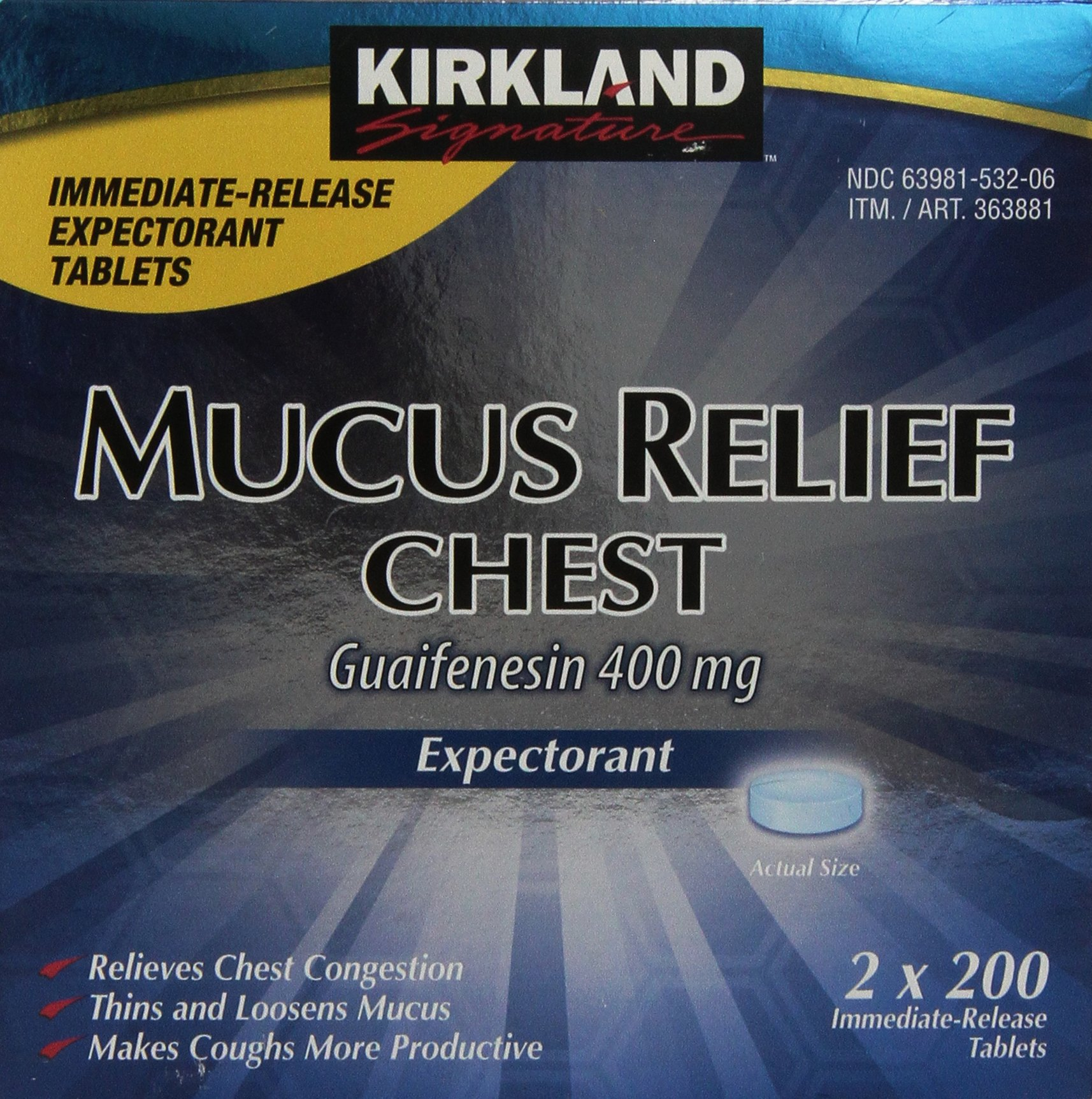 Kirkland Signature Mucus Relief Chest Expectorant (Guaifenesin 400 Mg), 2 bottles of 200-Count Immediate-Release Tablets by Kirkland Signature