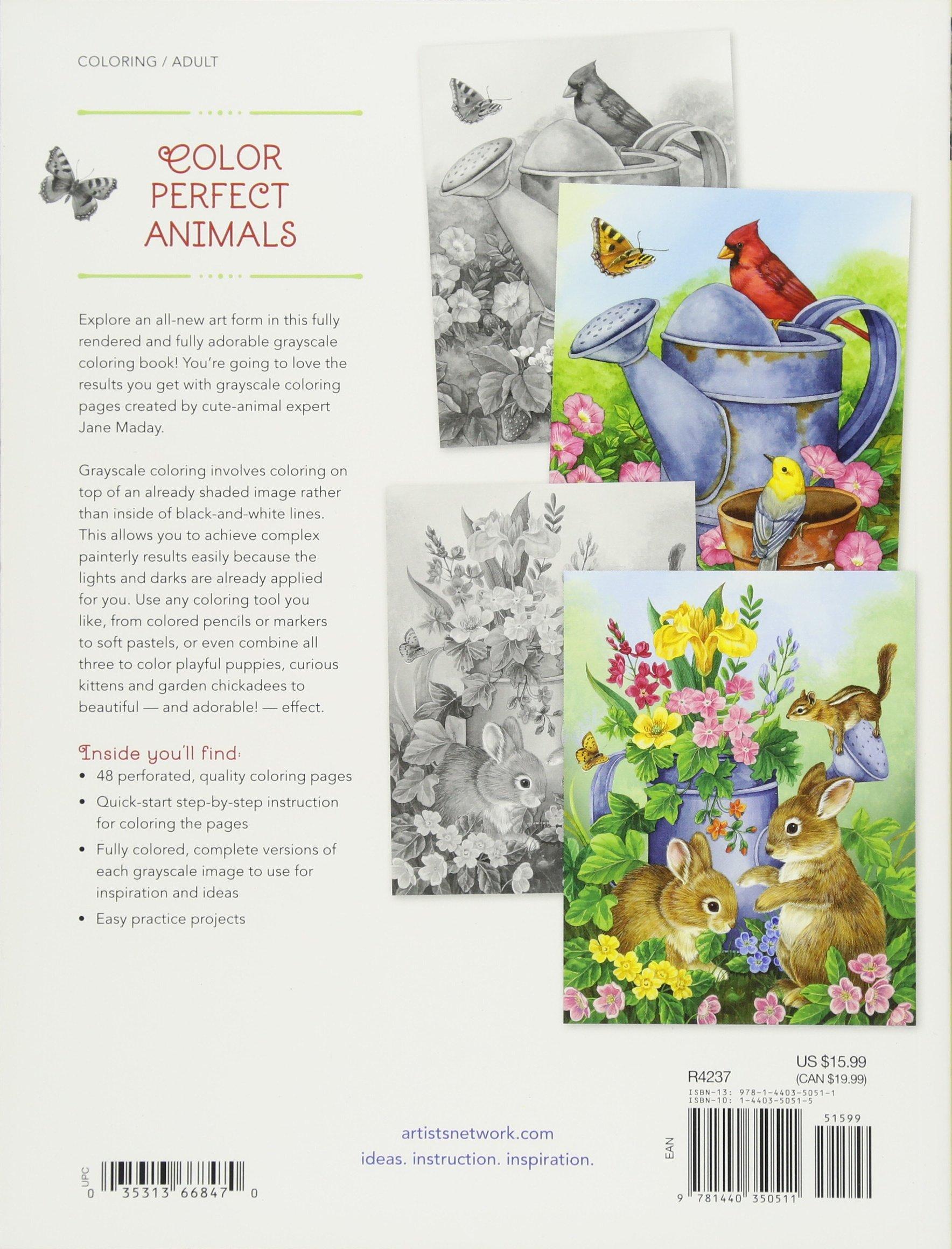 Adorable Animals Grayscale Coloring Book Amazon De Jane Maday