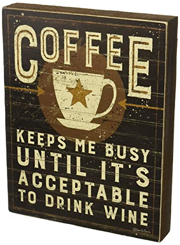 Primitives by Kathy Rustic Inspired Wood Box Sign, 9.5 x 12-Inches, Coffee Keeps Me Busy
