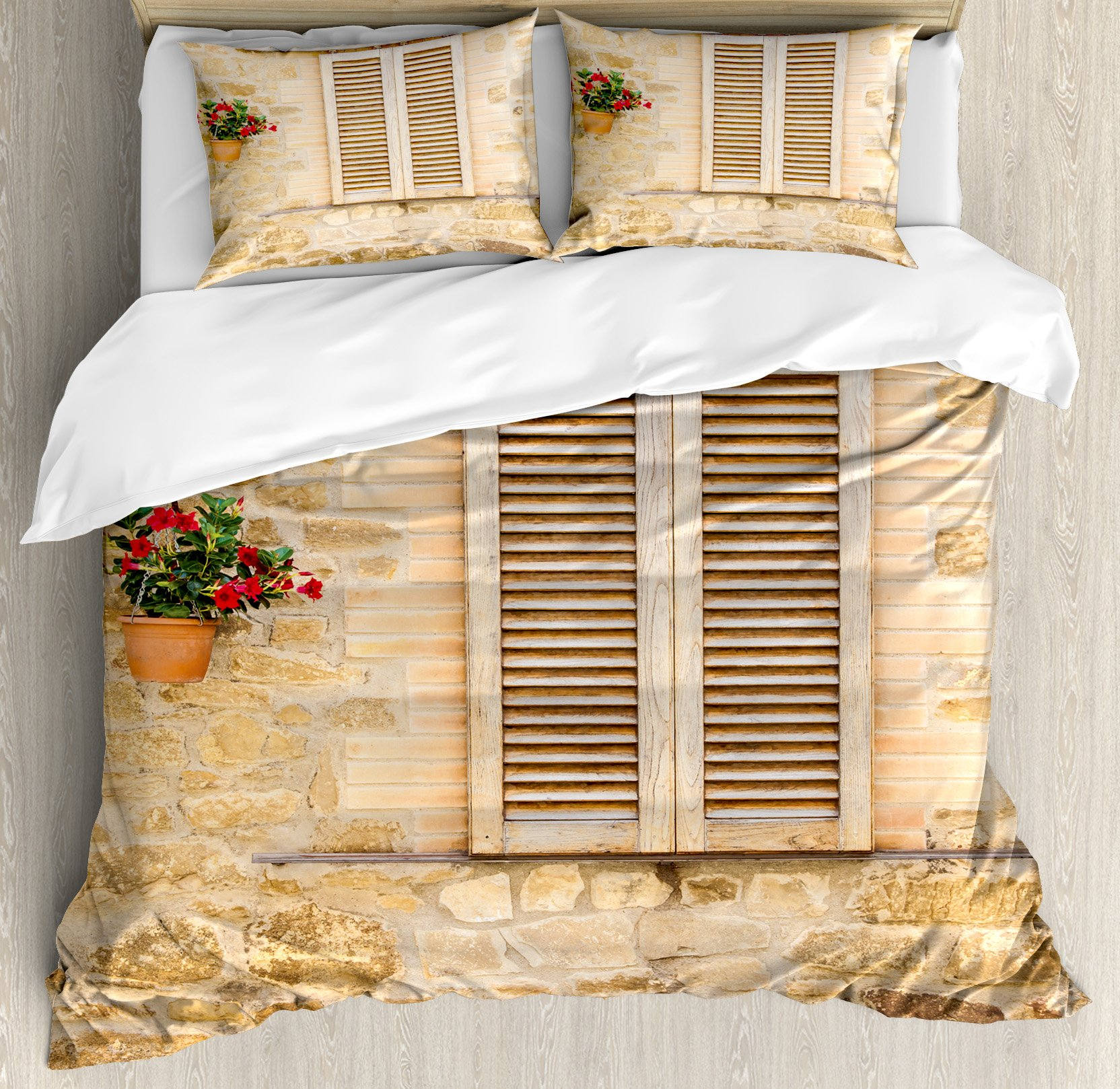 Tuscan Duvet Cover Set King Size by Ambesonne, Rustic Stone House and Window Shutters Flower Pot on Wall Italian Country Home Theme, Decorative 3 Piece Bedding Set with 2 Pillow Shams, Beige