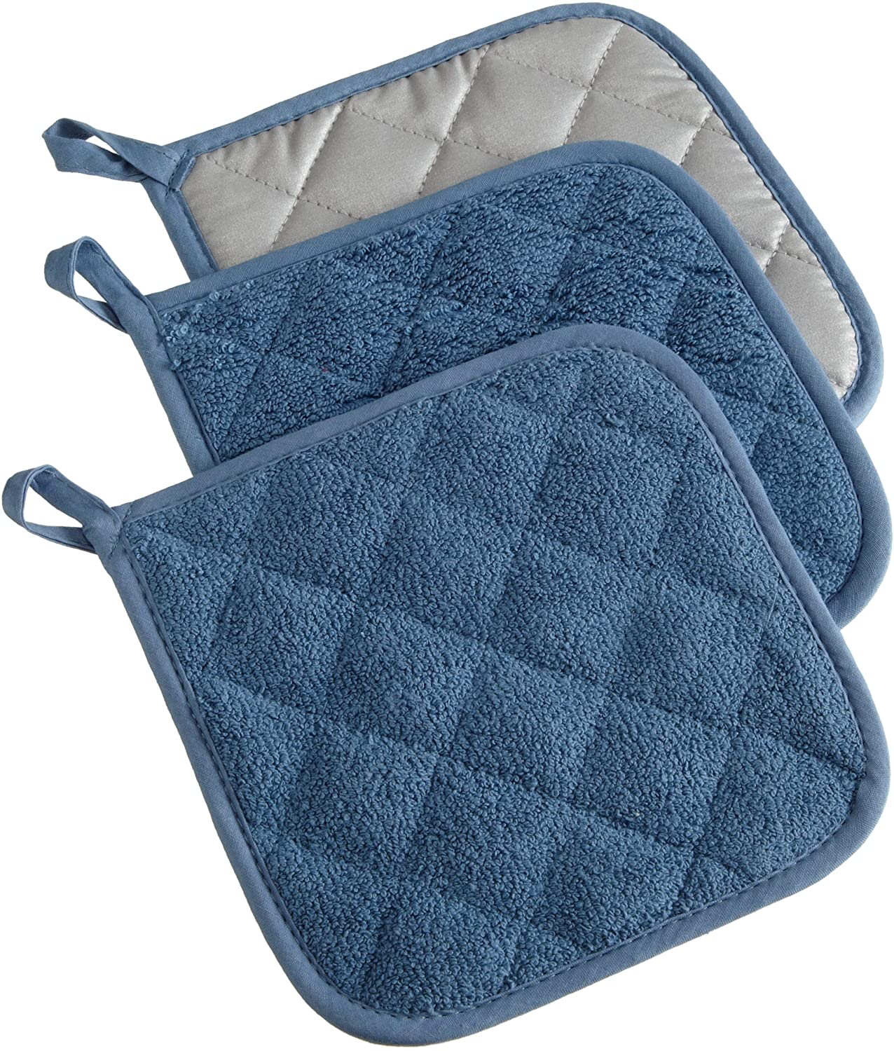 DII 100% Cotton, Quilted Terry Oven Set Machine Washable, Heat Resistant with Hanging Loop, Potholder, Blue 3 Piece: Home & Kitchen