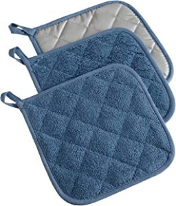 DII 100% Cotton, Quilted Terry Oven Set Machine Washable, Heat Resistant with Hanging Loop, Potholder, Blue 3 Piece