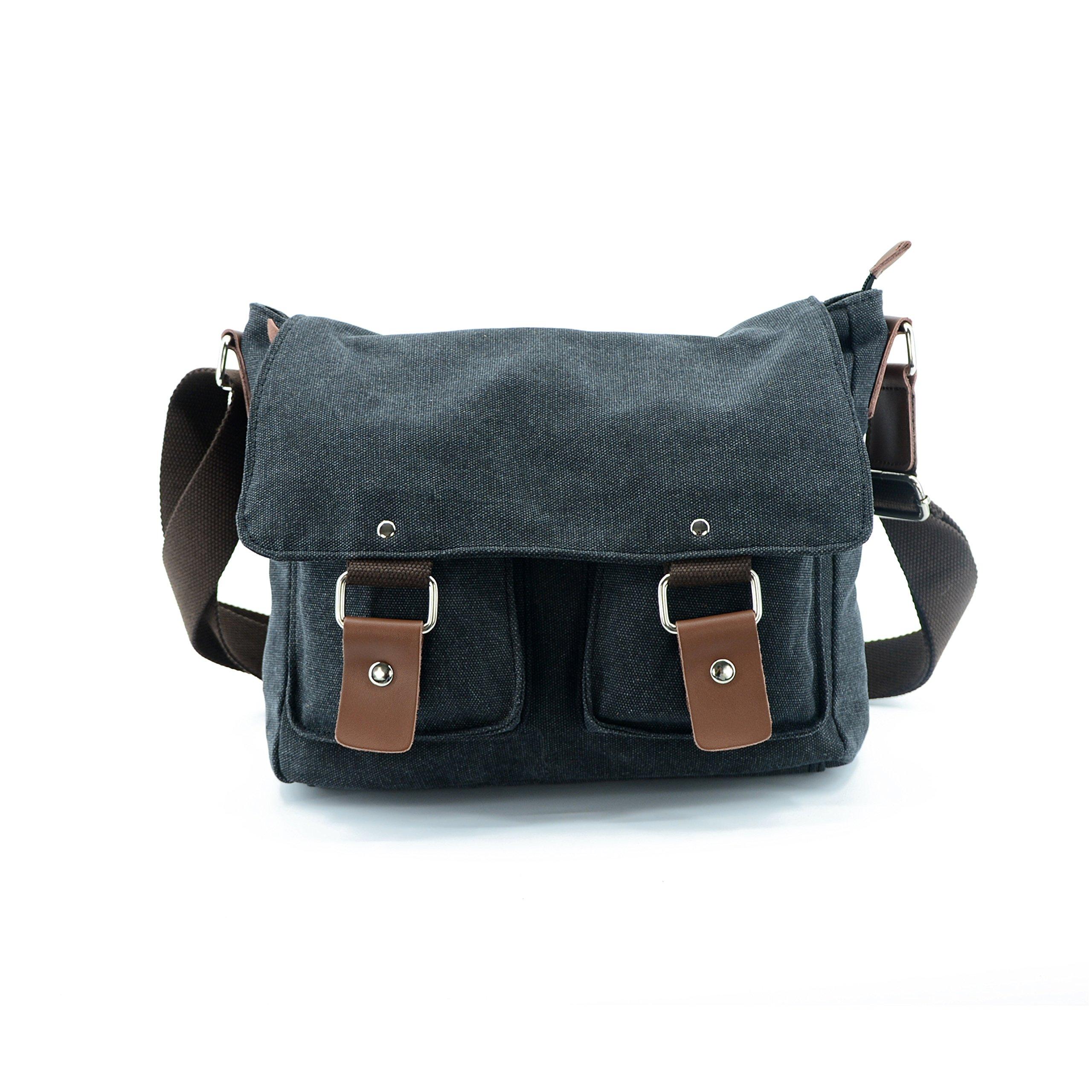 Lustear Satchel Messenger Bag Vintage Canvas Travel Shoulder Bag (Black)