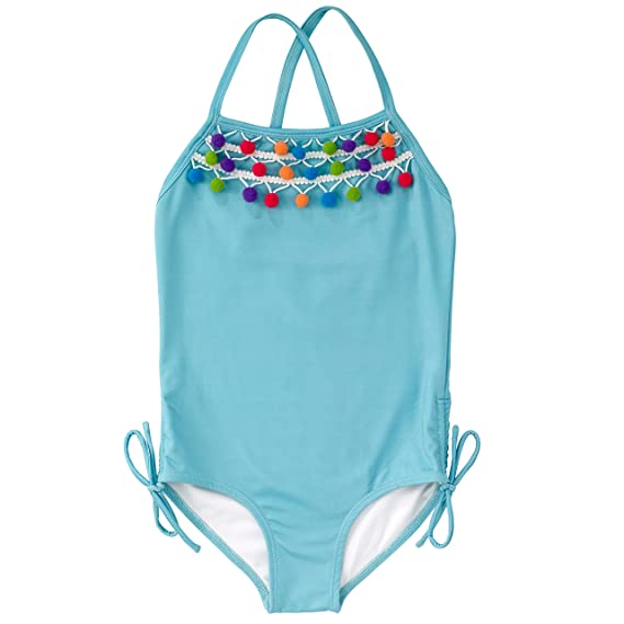 e261cee13a Masala Kids Girls' Crossback Pom One Piece Swimsuit, Turquoise, 2 Years
