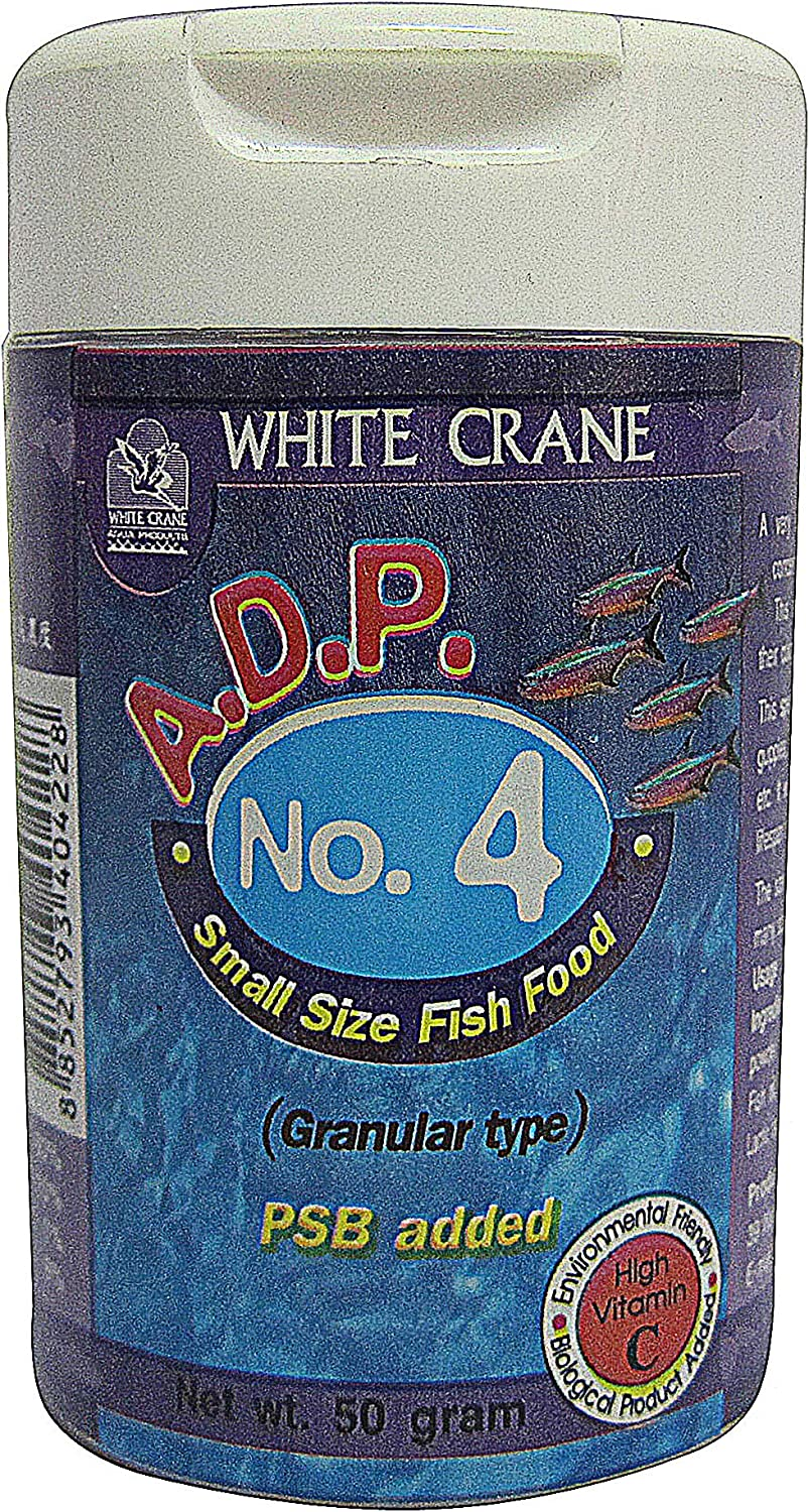 ADP No.4 Powder Type, Tropical Fish Food Floating Mini Micro Pellets for Feed Baby Fry Fish & Small Fish Special High Protein 60%, Color Enhancing, 50 g. Fish Feed Growth Fast Formula