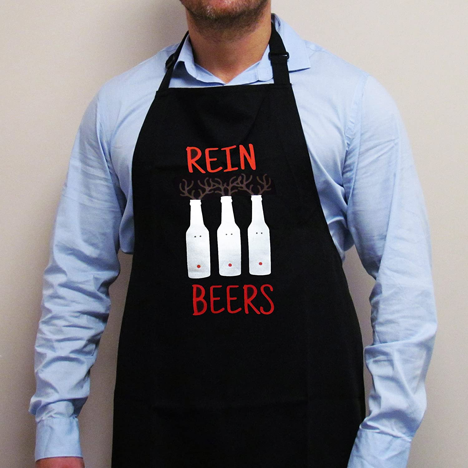 Reinbeers Christmas Apron, Novelty Christmas Cooking Apron