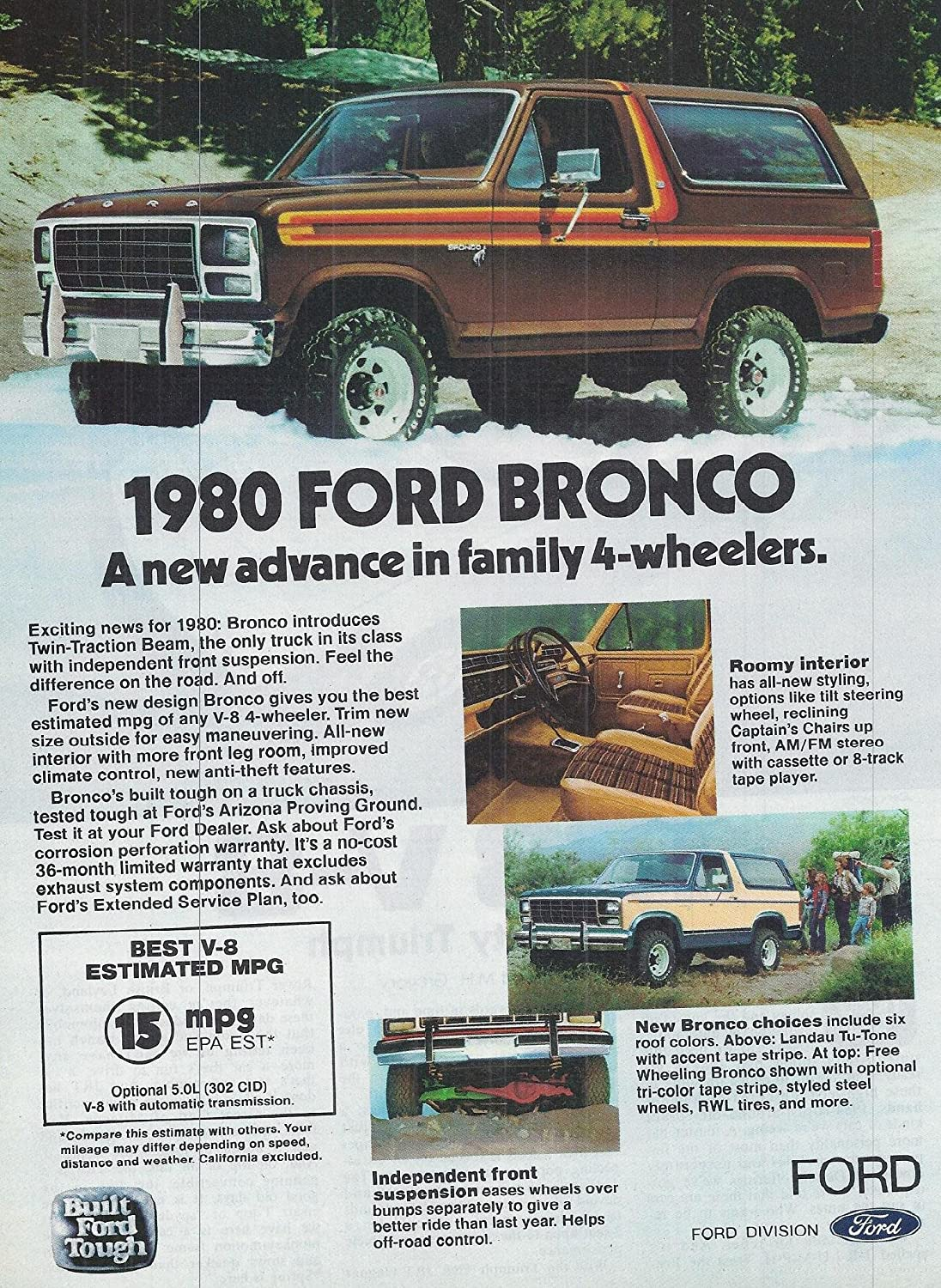 1980 Vintage American Cars Advertisement Ford Bronco Frame Posters Prints
