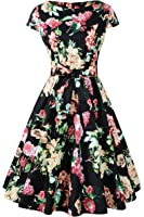 Chicanary Women's 1950s Vintage Cocktail Party Swing Dress Cap-sleeve