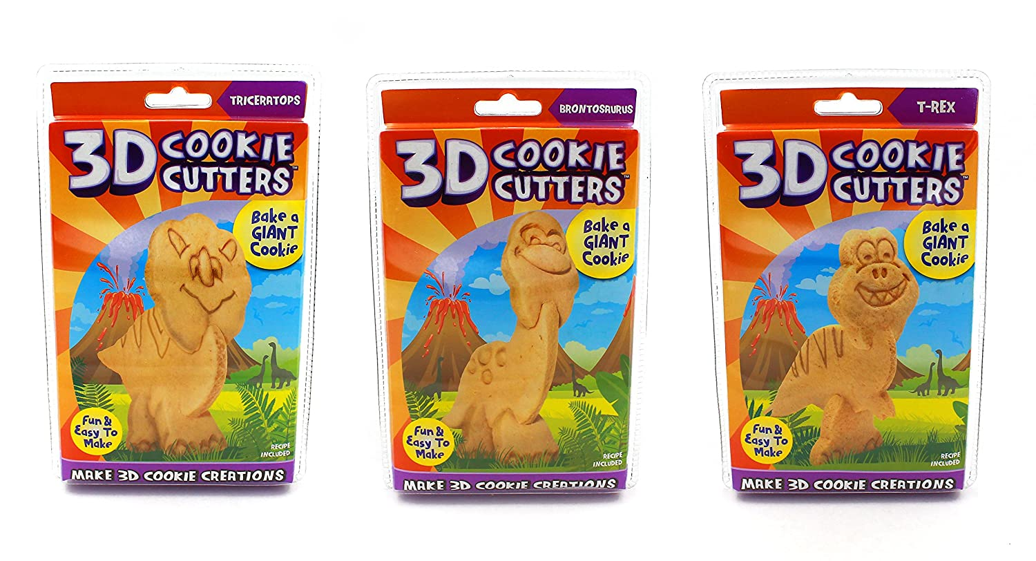 Dinosaurs Just For Laughs 3D Cookie Cutters, Dinosaurs 3-pack (Triceratops, Brontosaurus, T-Rex)