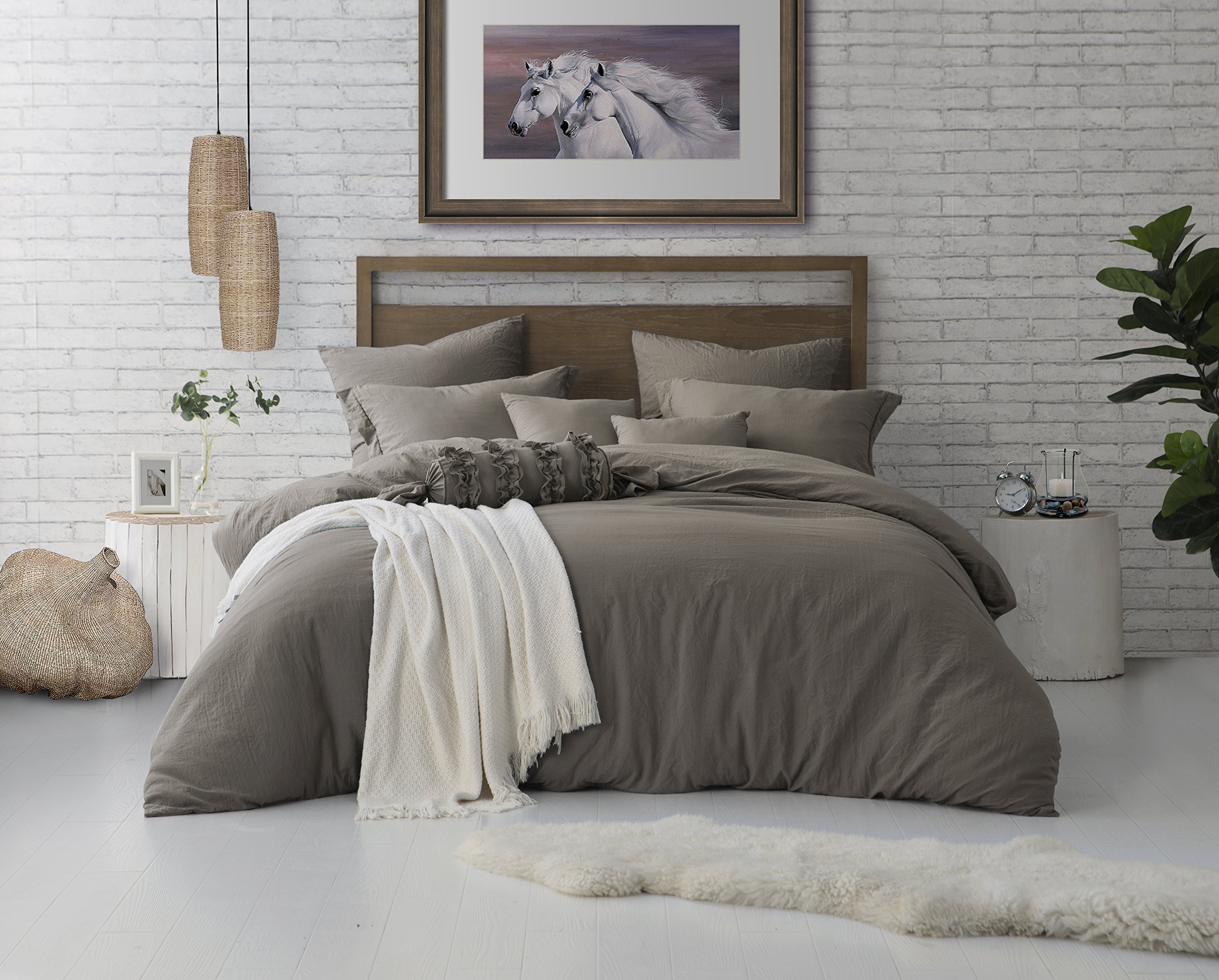 Swift Home Microfiber Washed Crinkle Duvet Cover & Sham (1 Duvet Cover with Zipper Closure & 2 Pillow Shams), Premium Hotel Quality Bed Set, Ultra-Soft & Hypoallergenic – Full/Queen, Driftwood by Swift Home (Image #1)