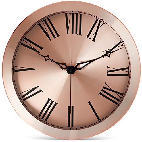 Bernhard Products Large Modern Wall Clock 14-Inch Rose Gold Metal – Silent Non Ticking Quartz Battery Operated Clocks Decorative Roman Numerals for Home Living Room Bedroom Office