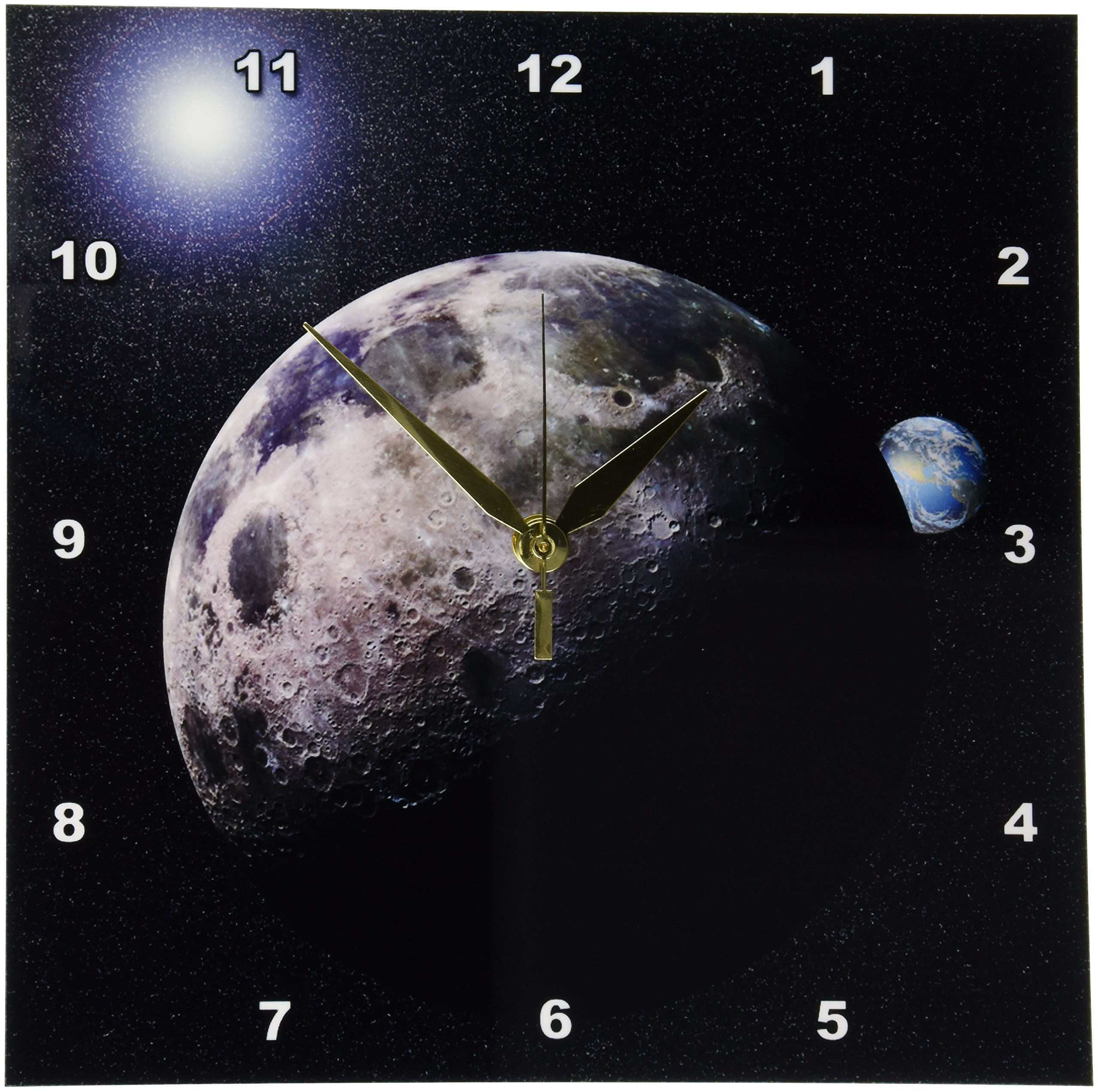 Perkins Designs Moon Dance Solar System Scene of Planet Earth and Moon Wall Clock, 10 by 10-Inch