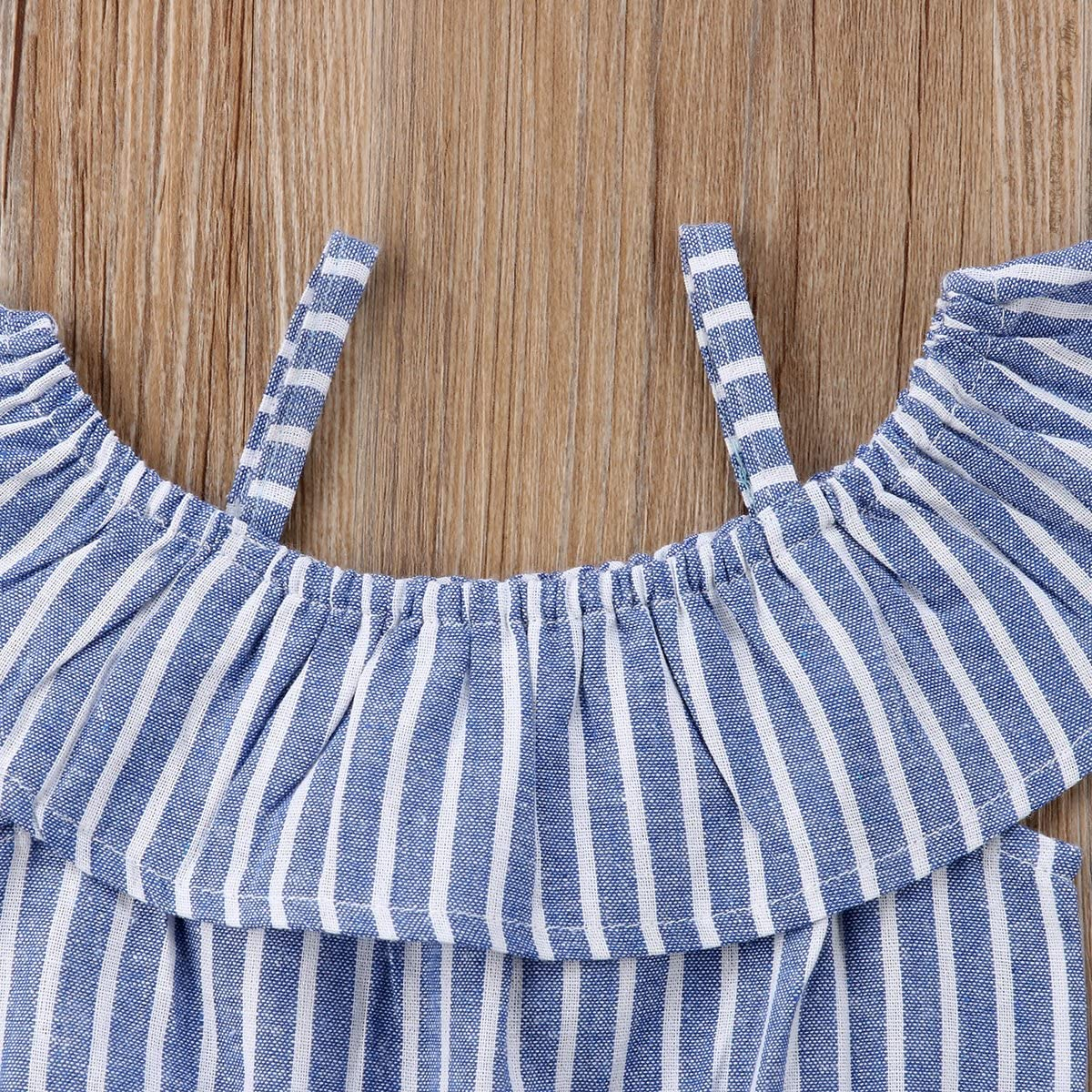 yannzi Toddler Kids Baby Girl Outfits Off-Shoulder Ruffle Striped Jumpsuit Playsuit Clothes