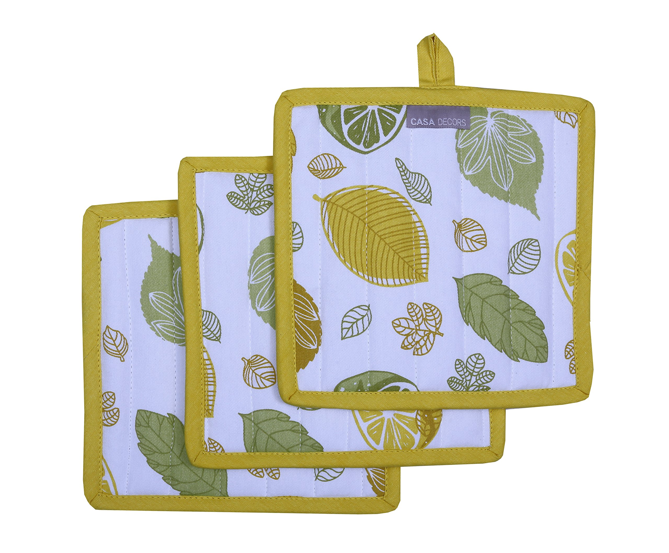 Pot Holders, Unique Citrus Splash Design, Pot Holders Heat Resistant, Made of 100% Cotton, Eco-Friendly & Safe, Set of 3, Pot Holder size 8 x 8 inches, Pot Holders for Kitchen By CASA DECORS