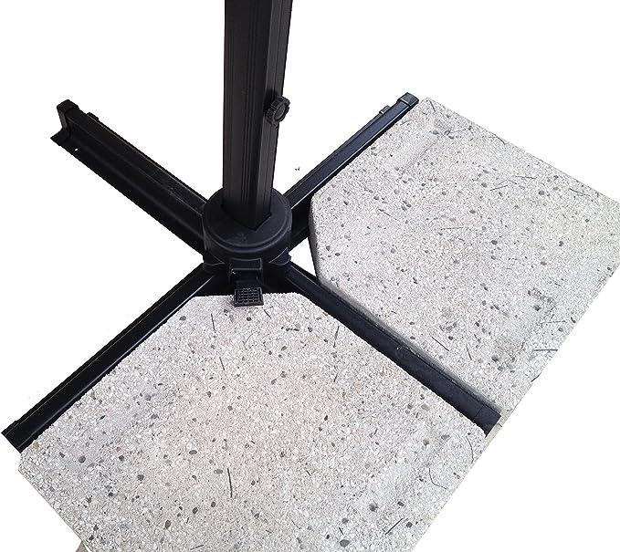 MICHELE SOGARI Ombrellone da Giardino 3X3 Beige Base Decentrata Alluminio 3 X 3 Telo Poliestere e Rotazione 360 gr Palo Antracite e Telo Beige