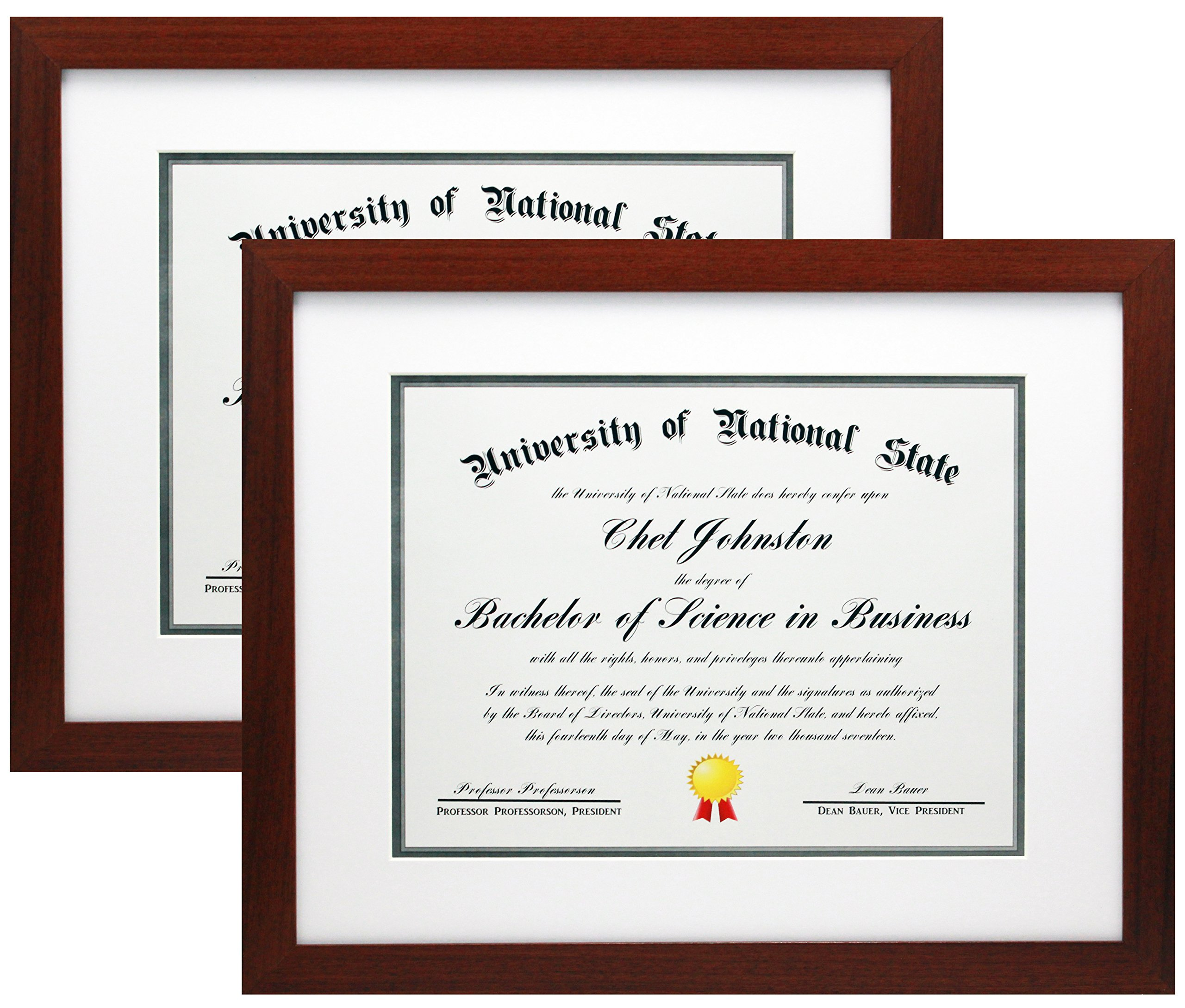 11x14 Mahogany Certificate Document Frame Mat to 8.5x11 or 8x10-2 Pack - Wide Molding - Includes Attached Hanging Hardware and Desktop Easel - Display Certificates, Documents, Diploma, Photo 2-Pack