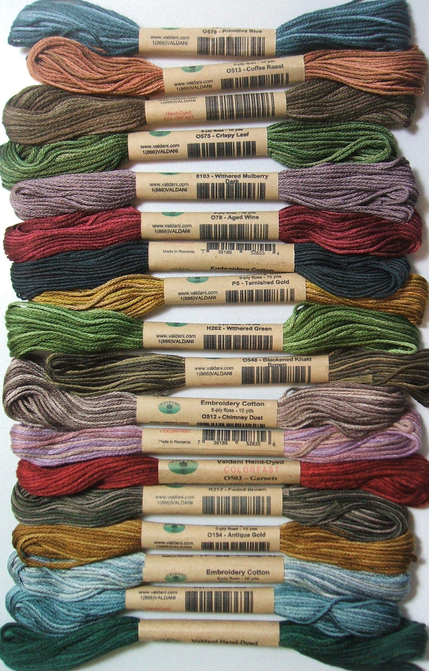 18 Valdani 6 Ply Strand Floss Embroidery Thread Anderson's Farm 10 Yard Skeins by Valdani