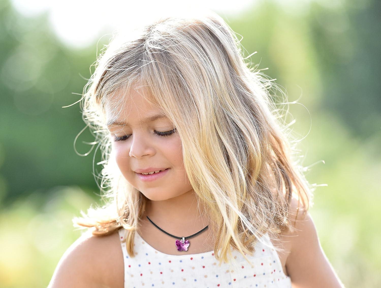 butterfly Enfants Filles Collier en Cuir V/éritable Swarovski Elements Originaux Papillon Rose Longueur R/églable Pochette /à Bijoux Cadeau