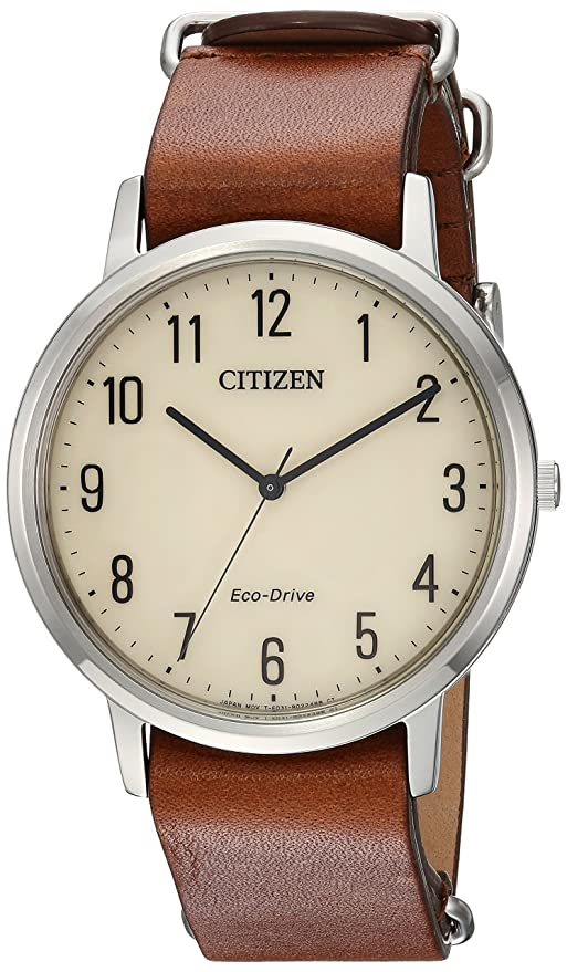 918b0d0c529014 Amazon.com: Citizen Men's 'Eco-Drive' Quartz Stainless Steel and Leather  Casual Watch, Color:Brown (Model: BJ6500-21A): Watches
