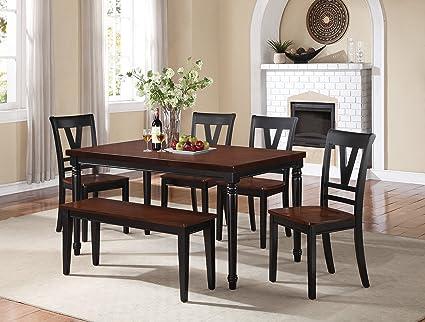 Poundex F2386 Mesa para Comedor Estilo Contemporáneo, Color Cereza y ...
