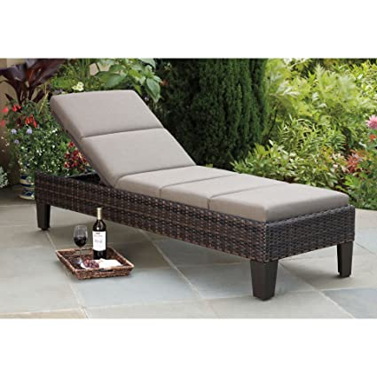 Etonnant Santa Ana Outdoor Patio Furniture Wicker Chaise Lounger With Sunbrella  Fabric Cushion