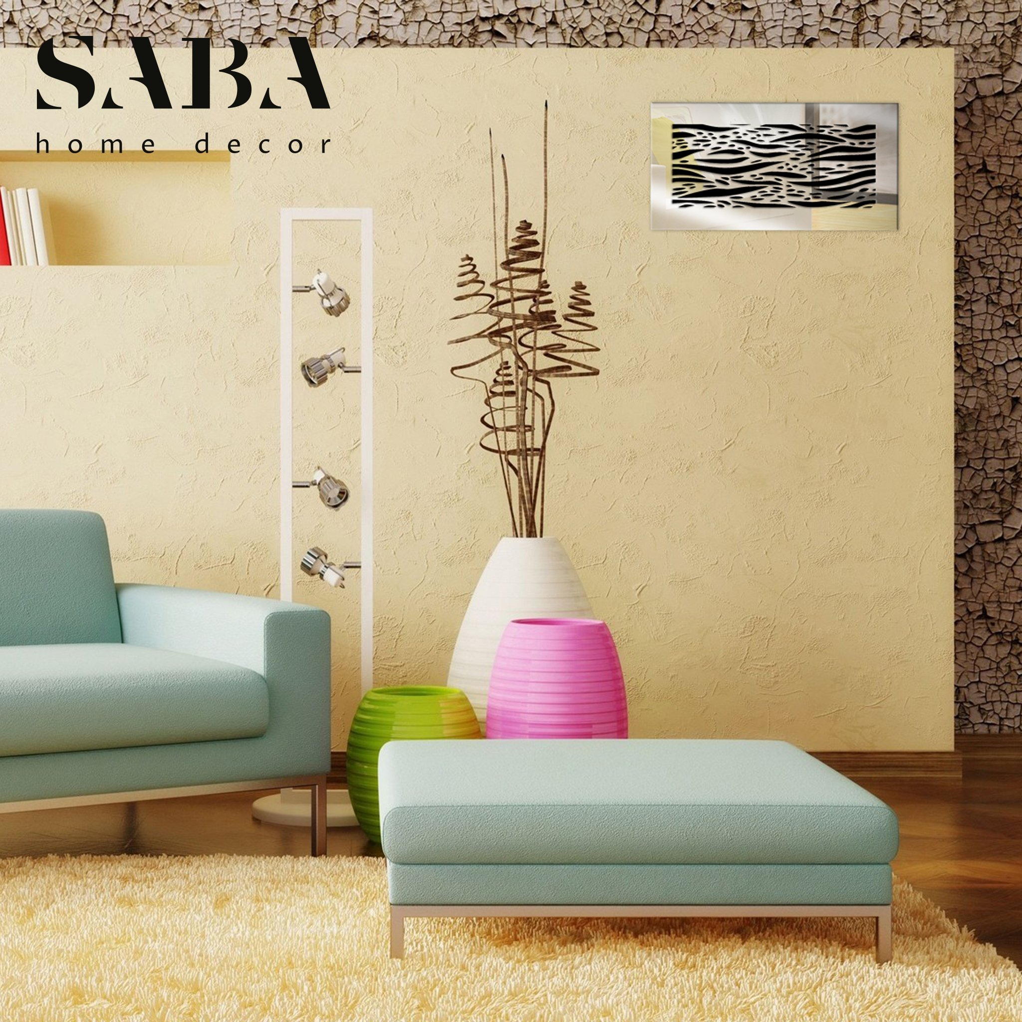 Saba Air Vent Covers Register - Acrylic Fiberglass Grille 10'' x 6'' Duct Opening (12'' x 8'' Overall) Mirror Finish Decorative Cover for Walls and Ceilings (not for Floor use), Waves by SABA Home Decor (Image #4)