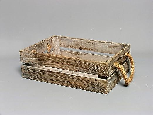 Envejecido – Maceta decorativa caja, rectangular marrón aprox. 27 ...