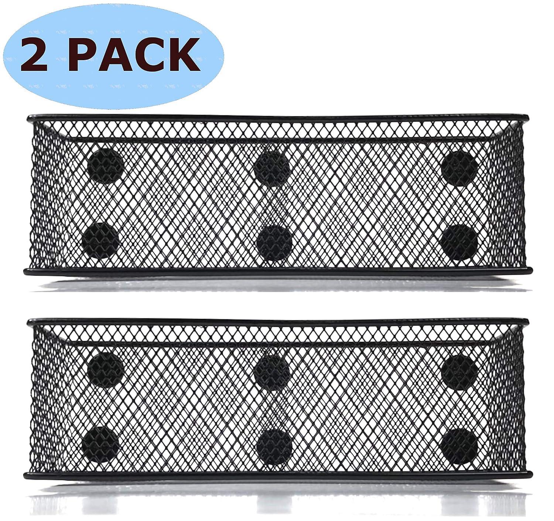 """Lenotion Premium Magnetic Locker Basket Pencil Holder Refrigerator Marker Holder Magnetic Basket for Whiteboard - 7.8"""" Wide-6 Strong Magnets-Set of 2-Black"""