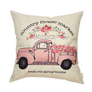 Fahrendom Country Flower Market Vintage Pink Truck Farmhouse Style Fresh Cut Spring Blooms Sign Cotton Linen Home Decorative Throw Pillow Case Cushion Cover with Words for Sofa Couch, 18 x 18 in