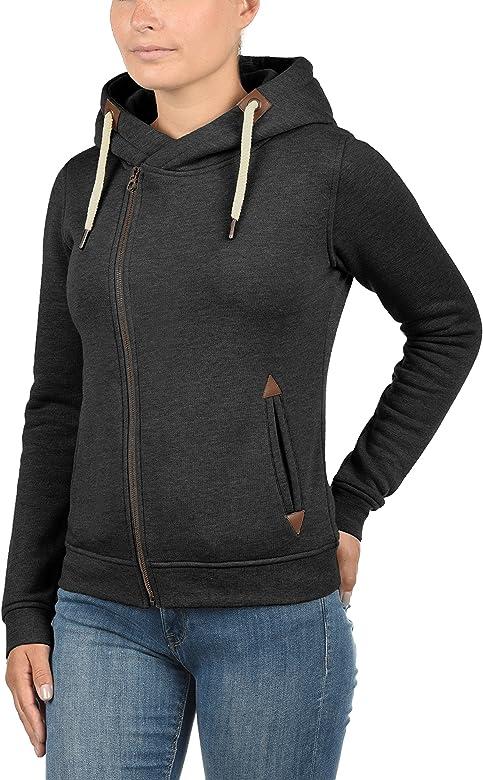 Desires Vicky Zip-Hood Chaqueta Sudadera Jersey Corta para Mujer con Capucha con Capucha con Forro Polar Suave Al Tacto
