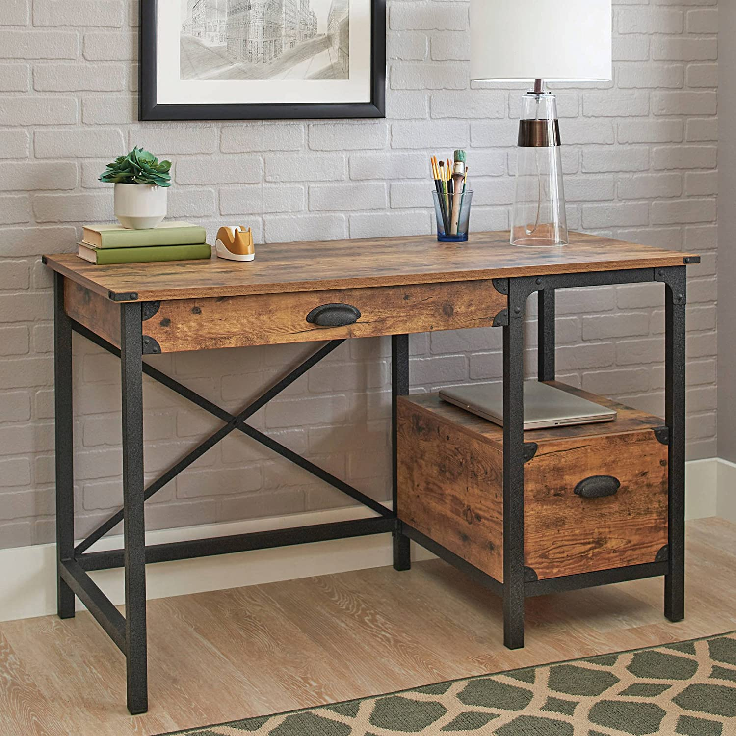 Amazon.com: Better Homes And Gardens Rustic Country Desk, Weathered Pine  Finish: Kitchen U0026 Dining