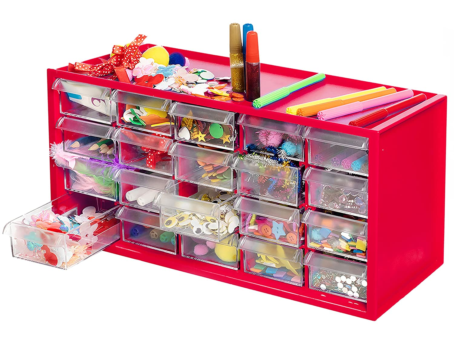 Arts & Crafts Supply Center Complete with 20 Filled Drawers of Craft Materials Kraftic