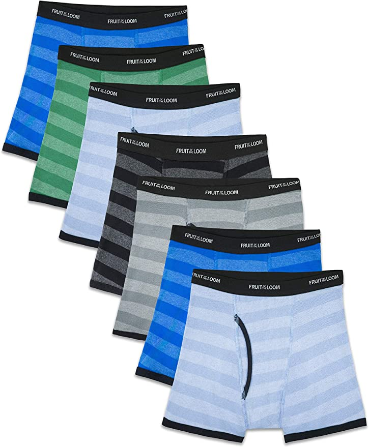 Boys Fruit of the Loom Boxer Briefs Pack of 5 Regular Leg Tag Free XL  18-20