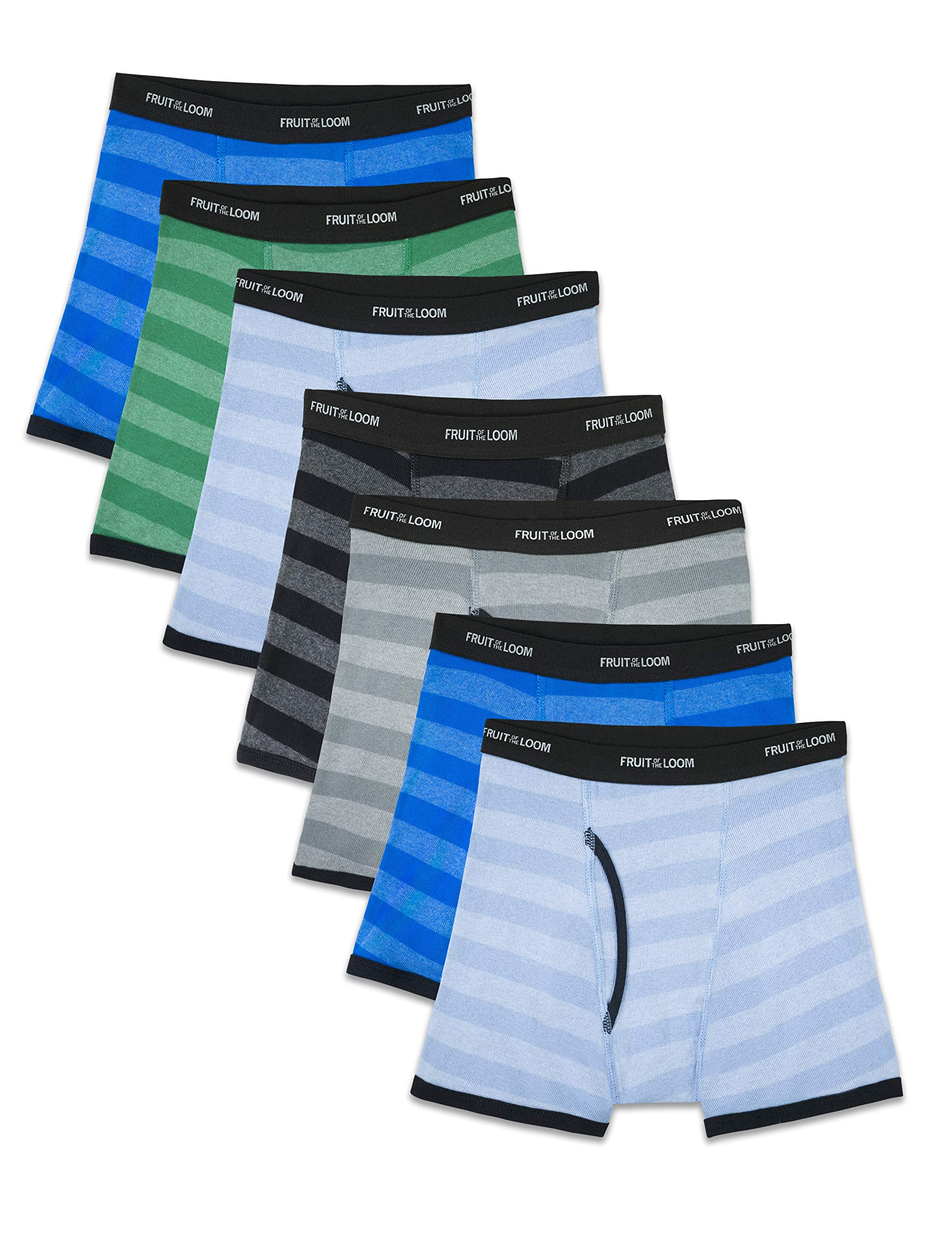 Fruit of the Loom Boys' Boxer Brief, Exposed and Covered Waistband, Stripes - Assorted (Pack of 7), Medium by Fruit of the Loom