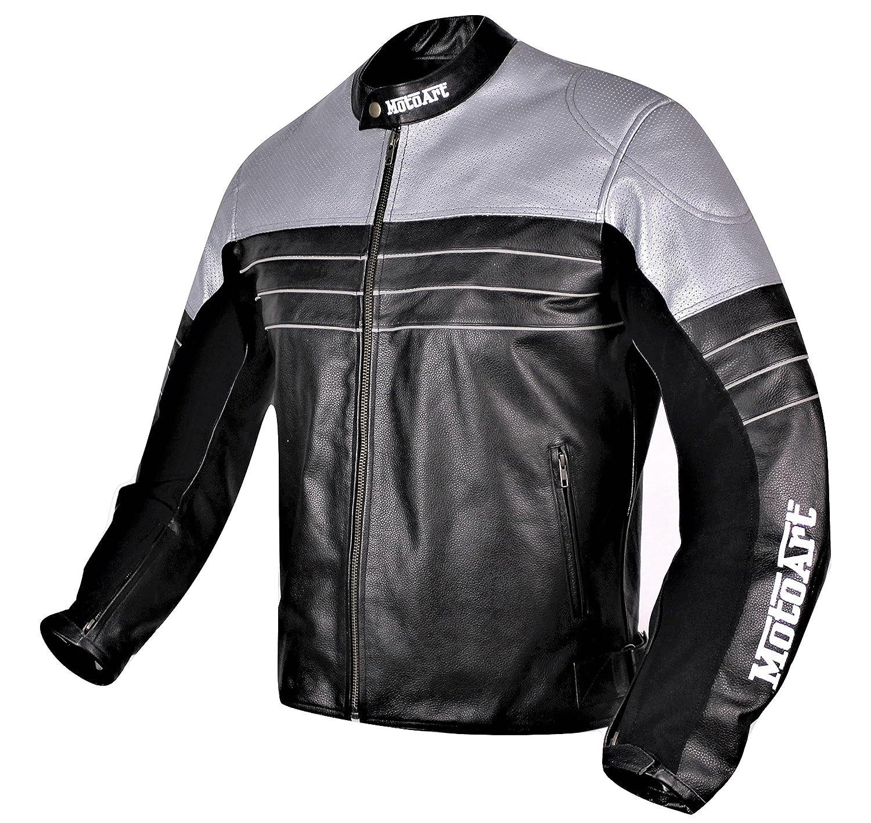 motoart Racing Pro Serie I plateado y negro perforado Biker ...