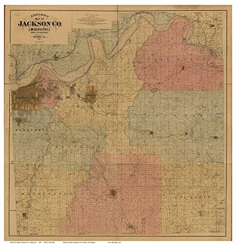 Amazon Com Jackson County Missouri 1887 Wall Map With Landowner