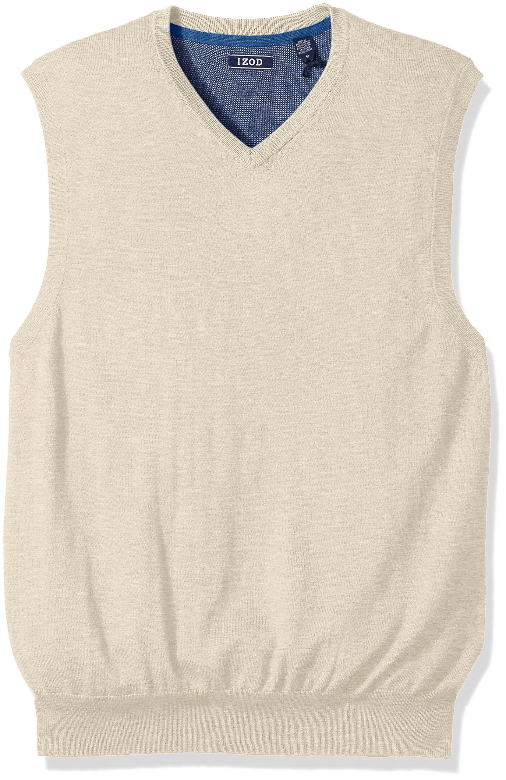 IZOD Men's Fine Gauge Solid Sweater Vest, Rock Heather, Small