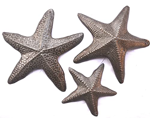 Starfish, Set of 3, Nautical Home Decor, Recycled Wall Art 8, 8 and 5 Inches, Haitian, Decorative, Plaque