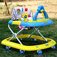 Archana Baby Walker With Adjustable Height Rattlers And Music - Blue
